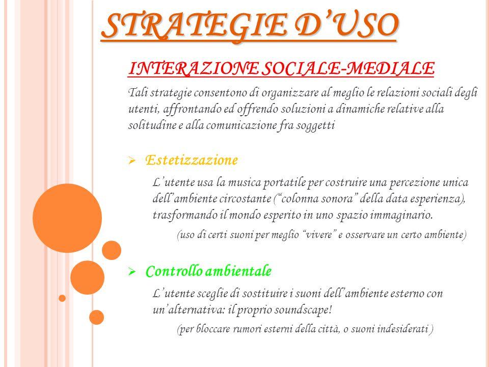 STRATEGIE D'USO INTERAZIONE SOCIALE-MEDIALE Estetizzazione