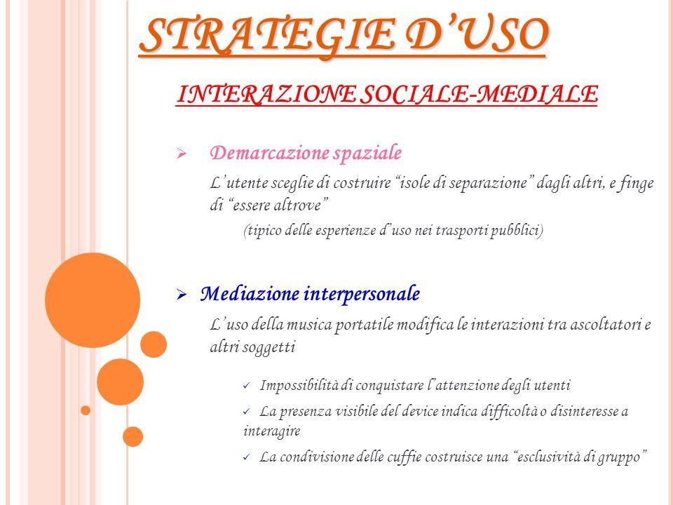 STRATEGIE D'USO INTERAZIONE SOCIALE-MEDIALE Demarcazione spaziale