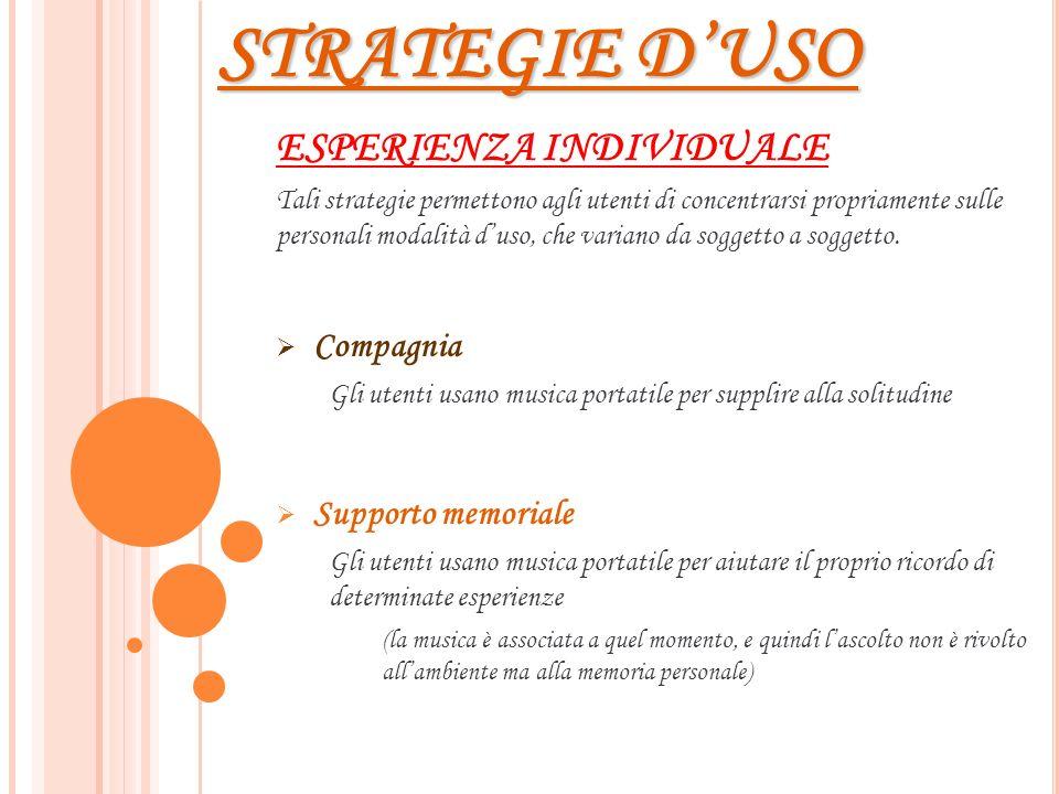 STRATEGIE D'USO ESPERIENZA INDIVIDUALE Compagnia Supporto memoriale