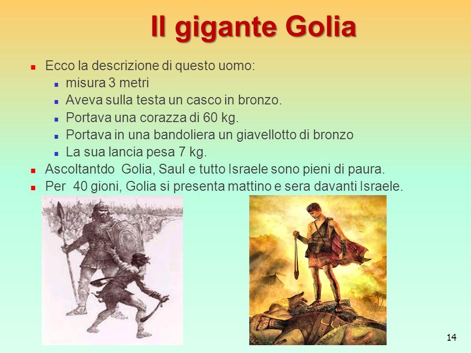 Il gigante Golia Ecco la descrizione di questo uomo: misura 3 metri