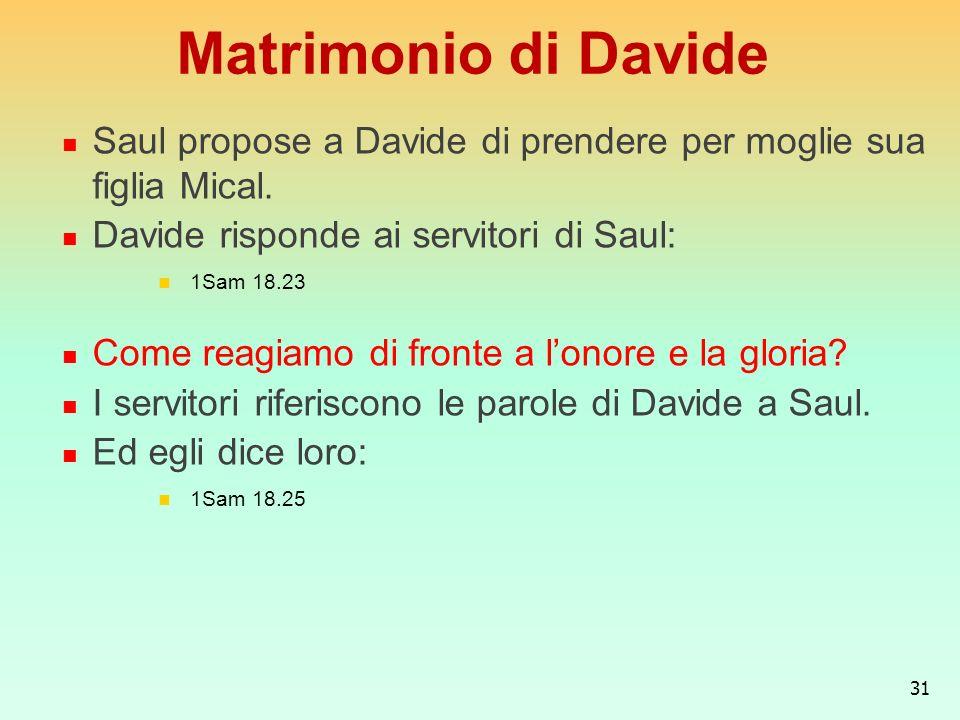 Matrimonio di DavideSaul propose a Davide di prendere per moglie sua figlia Mical. Davide risponde ai servitori di Saul: