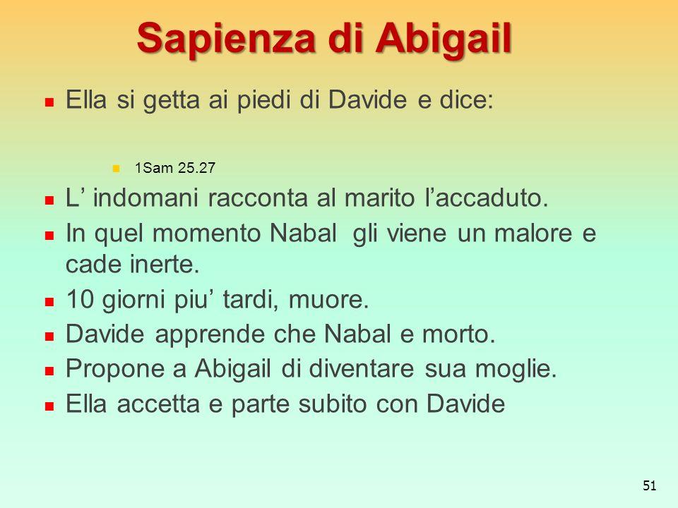Sapienza di Abigail Ella si getta ai piedi di Davide e dice: