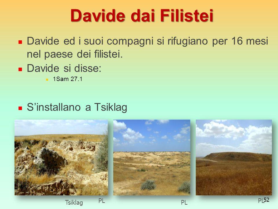 Davide dai FilisteiDavide ed i suoi compagni si rifugiano per 16 mesi nel paese dei filistei. Davide si disse: