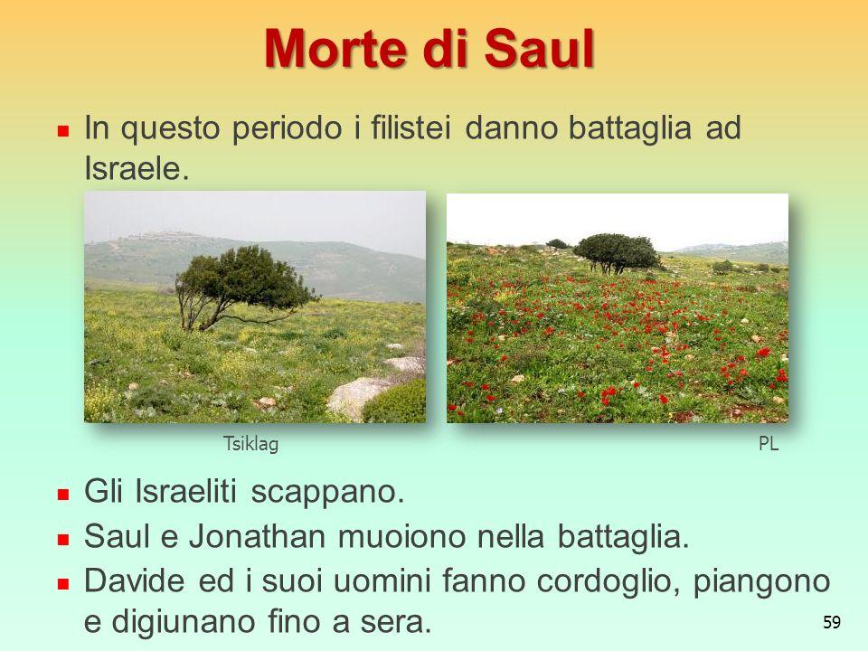 Morte di Saul In questo periodo i filistei danno battaglia ad Israele.