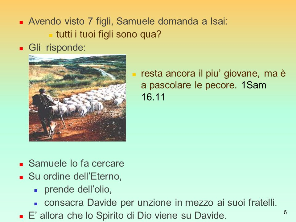 Avendo visto 7 figli, Samuele domanda a Isai:
