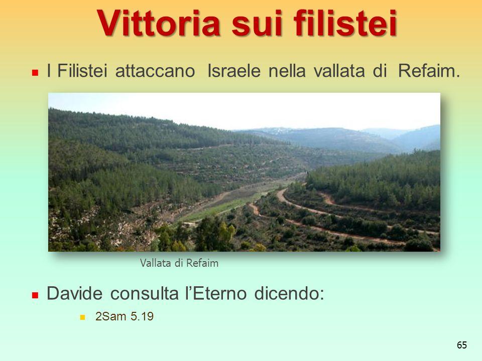 Vittoria sui filistei I Filistei attaccano Israele nella vallata di Refaim. Davide consulta l'Eterno dicendo: