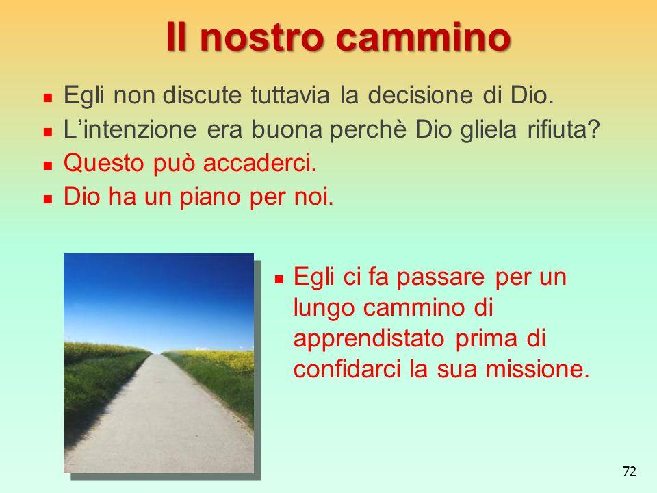 Il nostro cammino Egli non discute tuttavia la decisione di Dio.