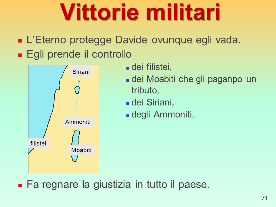 Vittorie militari L'Eterno protegge Davide ovunque egli vada.