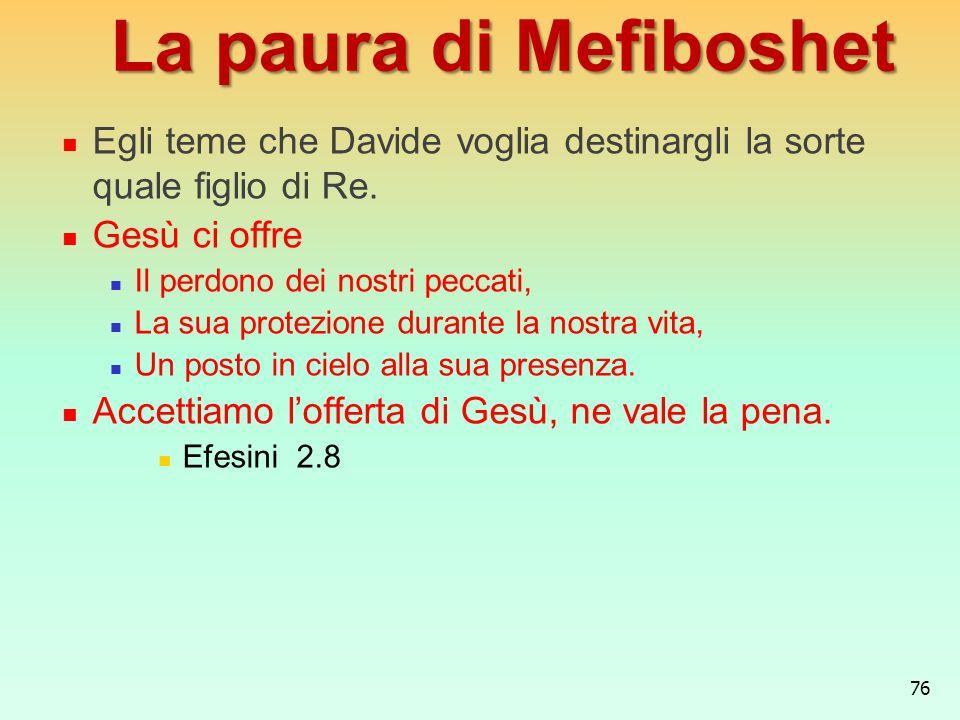 La paura di MefiboshetEgli teme che Davide voglia destinargli la sorte quale figlio di Re. Gesù ci offre.