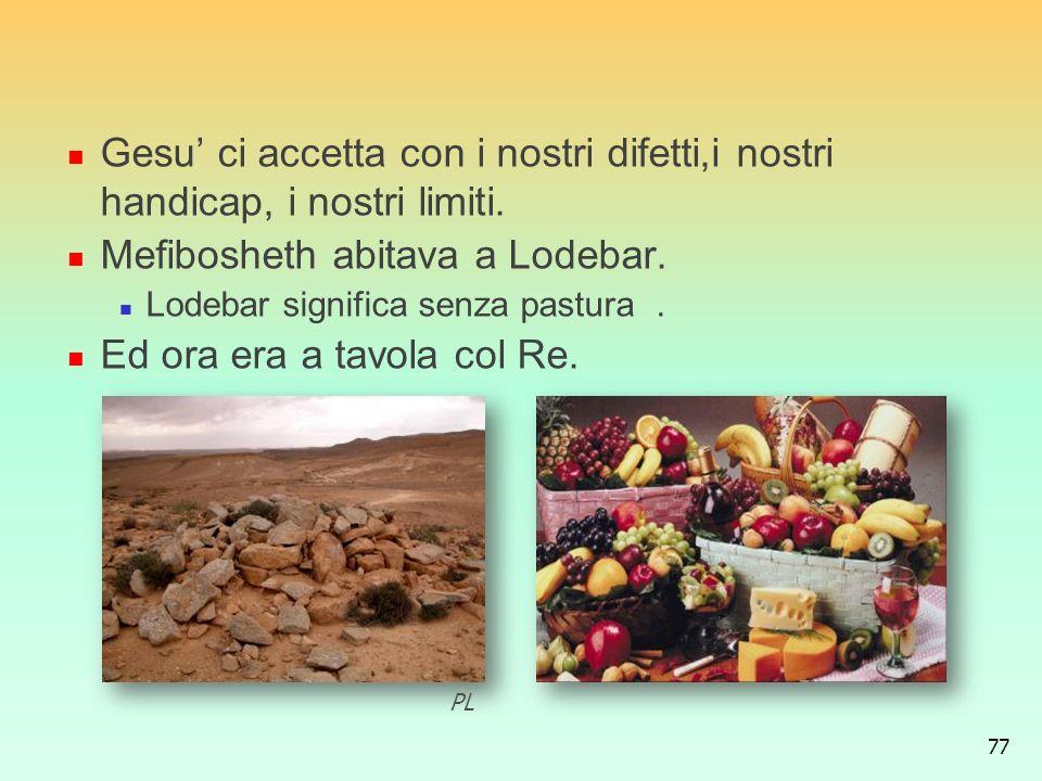 Mefibosheth abitava a Lodebar. Ed ora era a tavola col Re.
