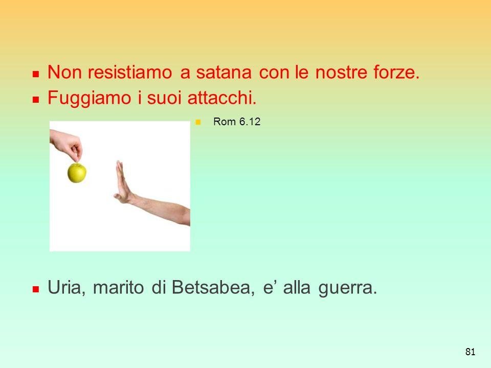 Non resistiamo a satana con le nostre forze. Fuggiamo i suoi attacchi.