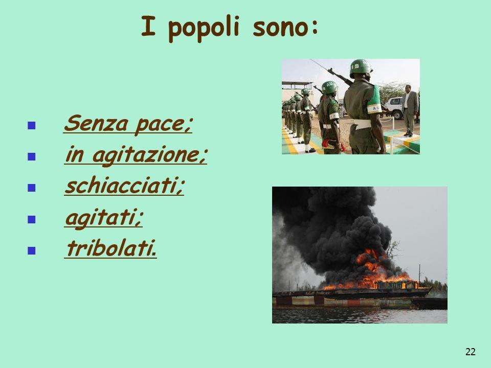 I popoli sono: Senza pace; in agitazione; schiacciati; agitati;