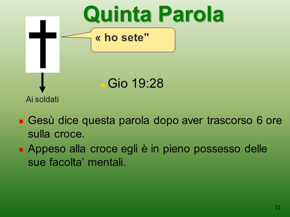 Quinta Parola Gio 19:28 « ho sete