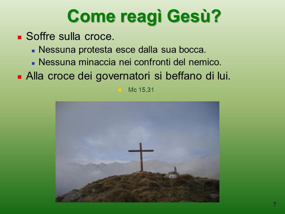 Come reagì Gesù Soffre sulla croce.