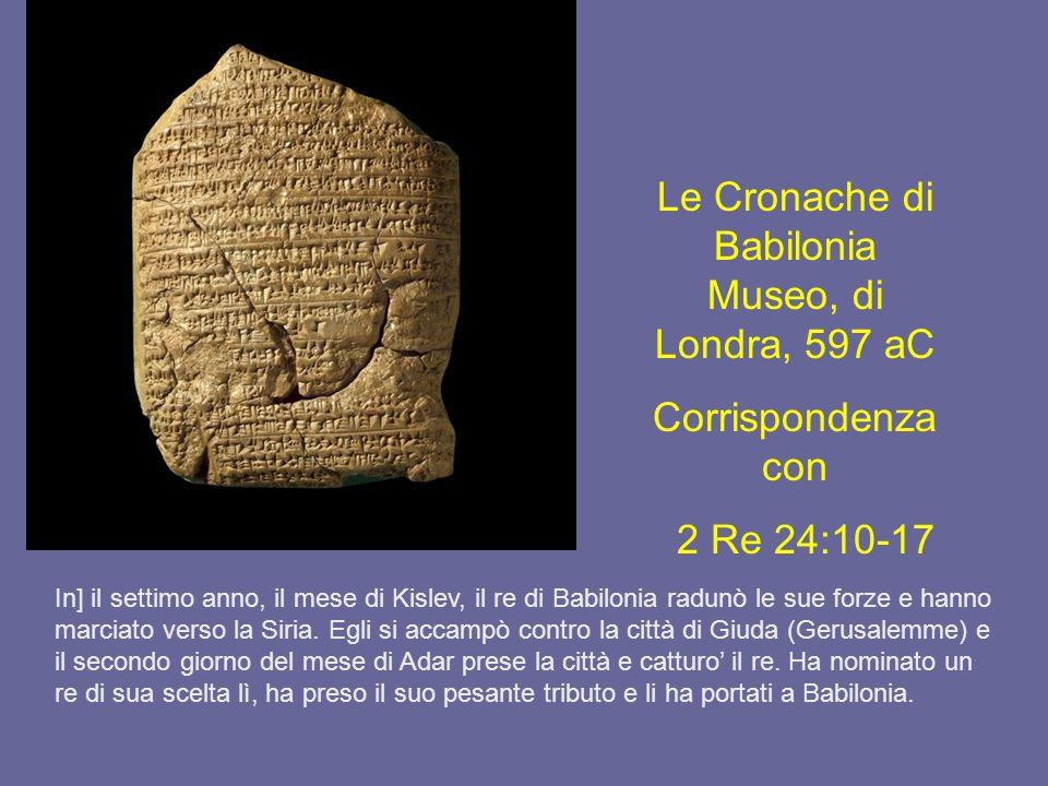 Le Cronache di Babilonia Museo, di Londra, 597 aC