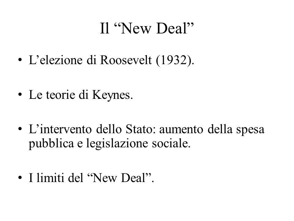 Il New Deal L'elezione di Roosevelt (1932). Le teorie di Keynes.
