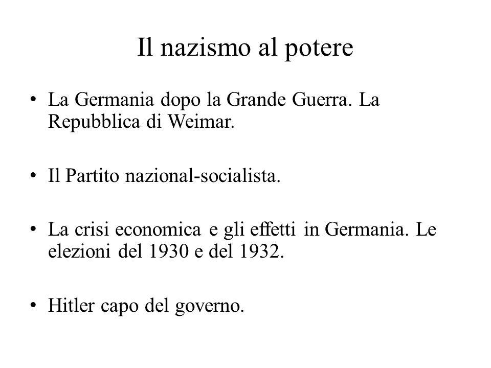 Il nazismo al potere La Germania dopo la Grande Guerra. La Repubblica di Weimar. Il Partito nazional-socialista.