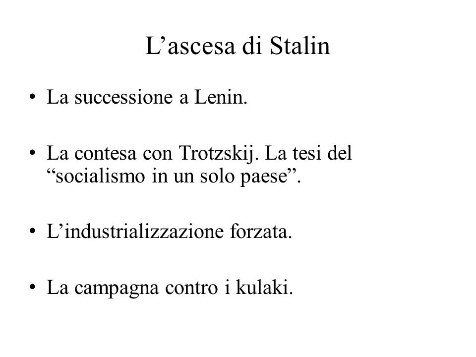 L'ascesa di Stalin La successione a Lenin.