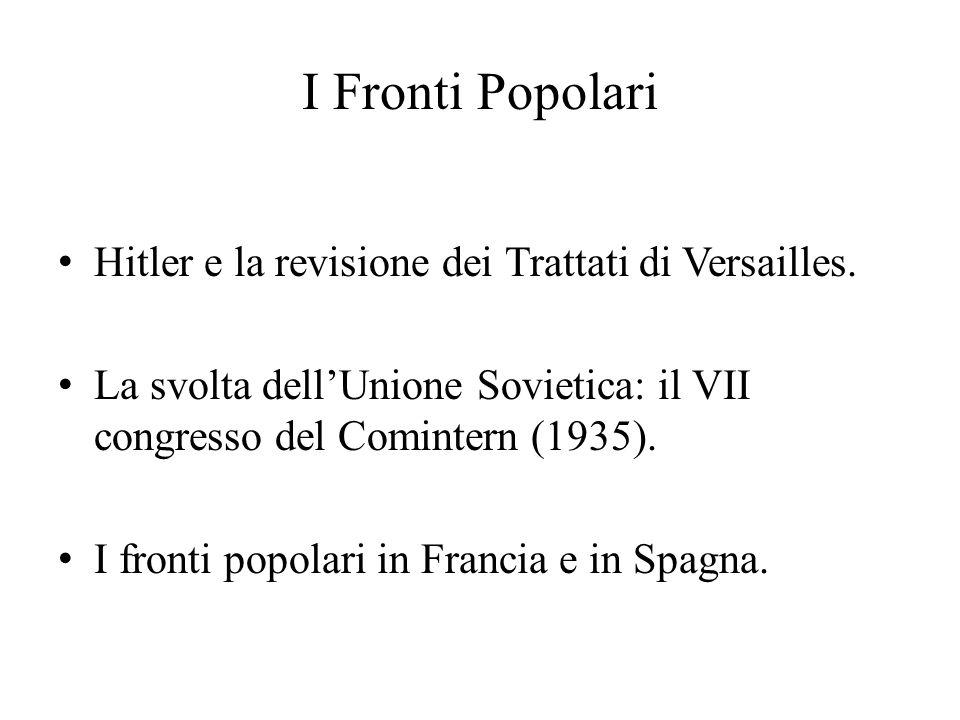 I Fronti Popolari Hitler e la revisione dei Trattati di Versailles.