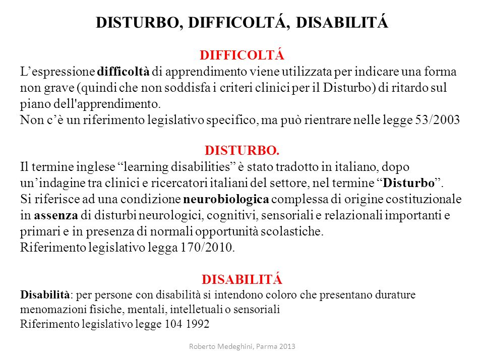 DISTURBO, DIFFICOLTÁ, DISABILITÁ
