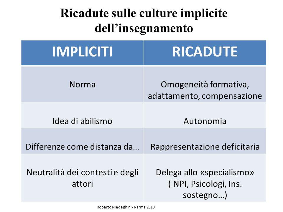 Ricadute sulle culture implicite dell'insegnamento