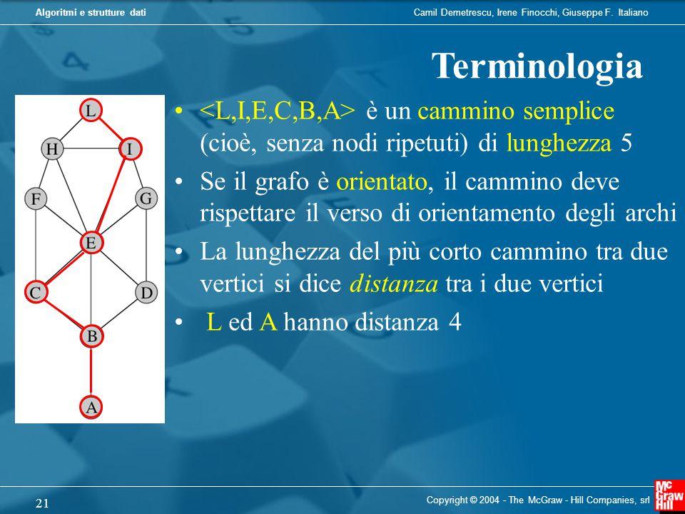 Terminologia <L,I,E,C,B,A> è un cammino semplice (cioè, senza nodi ripetuti) di lunghezza 5.