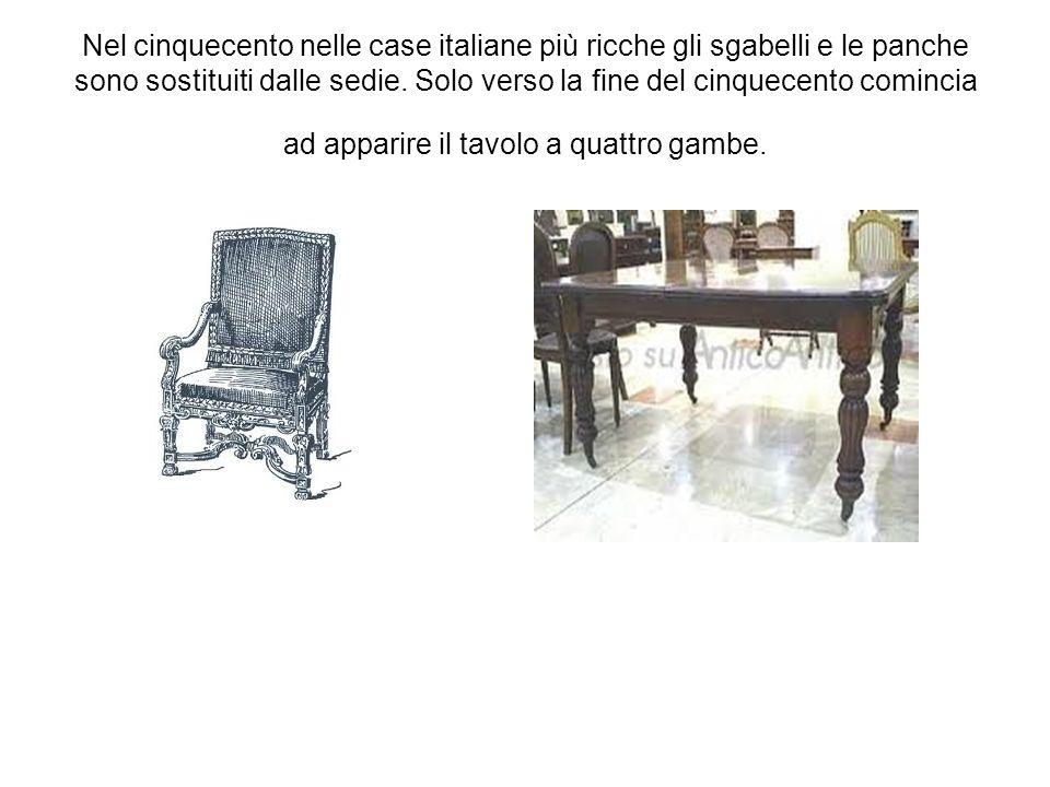 Nel cinquecento nelle case italiane più ricche gli sgabelli e le panche sono sostituiti dalle sedie.