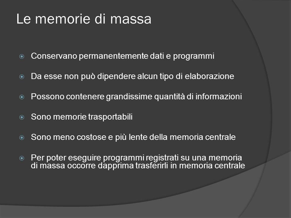 Le memorie di massa Conservano permanentemente dati e programmi