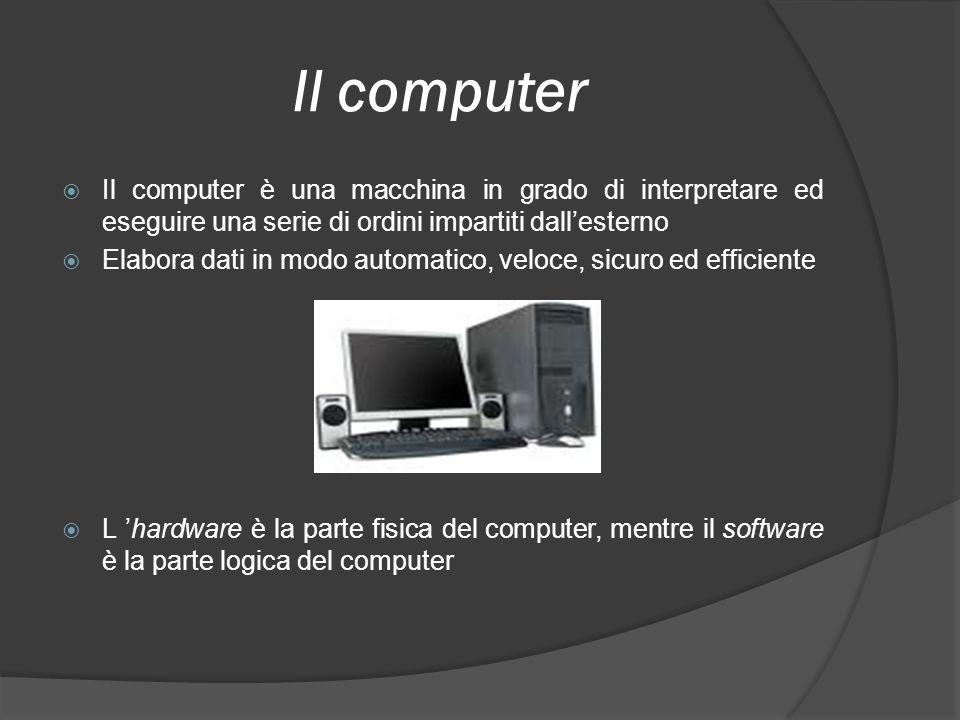 Il computer Il computer è una macchina in grado di interpretare ed eseguire una serie di ordini impartiti dall'esterno.