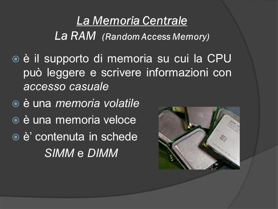 La Memoria Centrale La RAM (Random Access Memory)