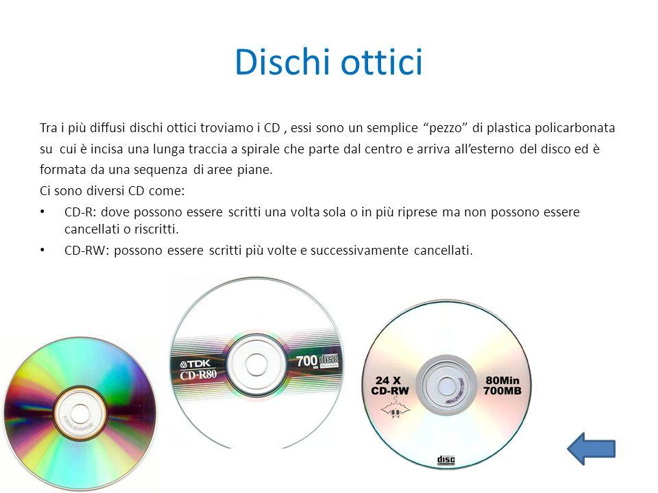 Dischi ottici Tra i più diffusi dischi ottici troviamo i CD , essi sono un semplice pezzo di plastica policarbonata.