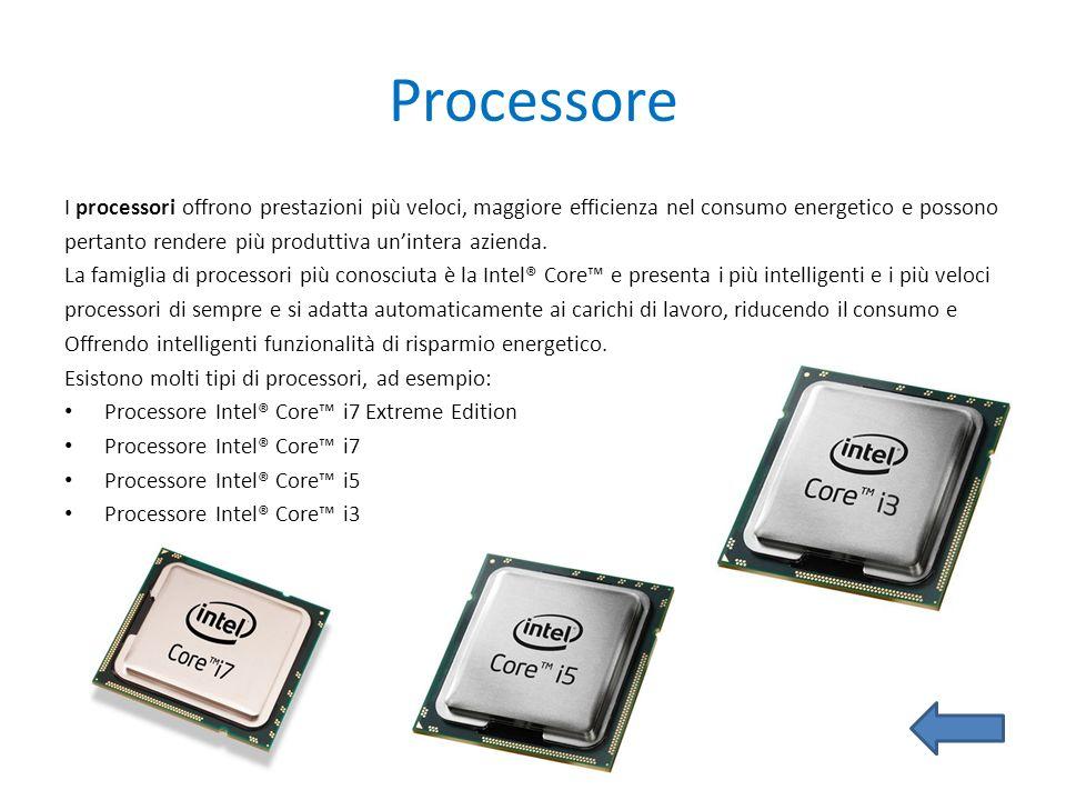 Processore I processori offrono prestazioni più veloci, maggiore efficienza nel consumo energetico e possono.