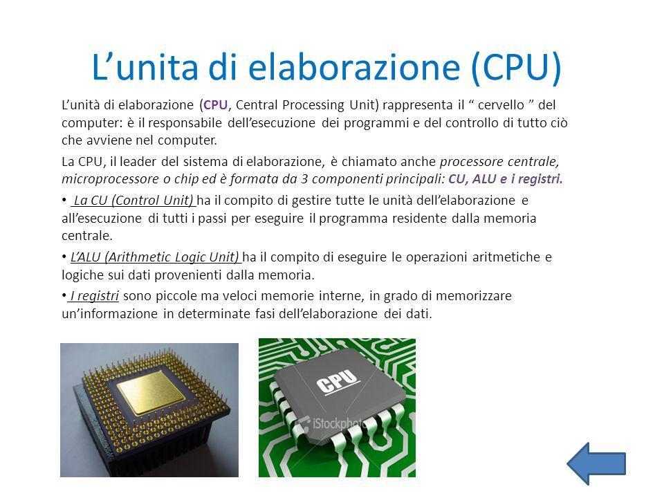 L'unita di elaborazione (CPU)