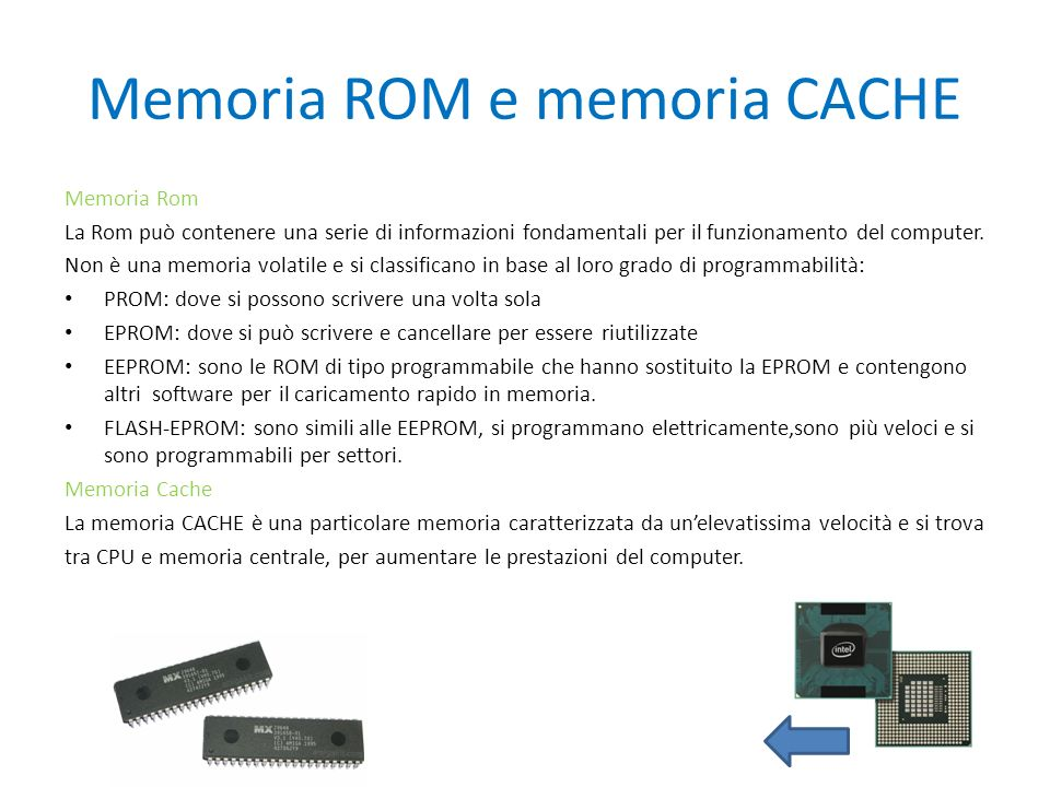Memoria ROM e memoria CACHE