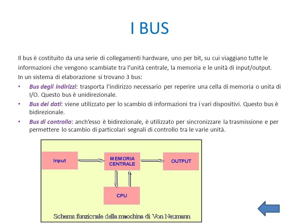 I BUS Il bus è costituito da una serie di collegamenti hardware, uno per bit, su cui viaggiano tutte le.