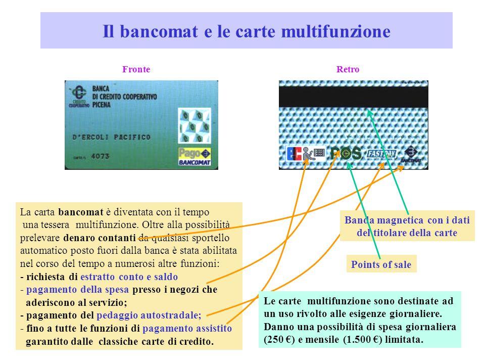Il bancomat e le carte multifunzione