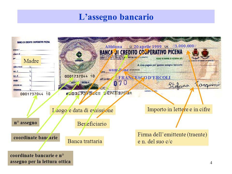 L'assegno bancario Madre Importo in lettere e in cifre