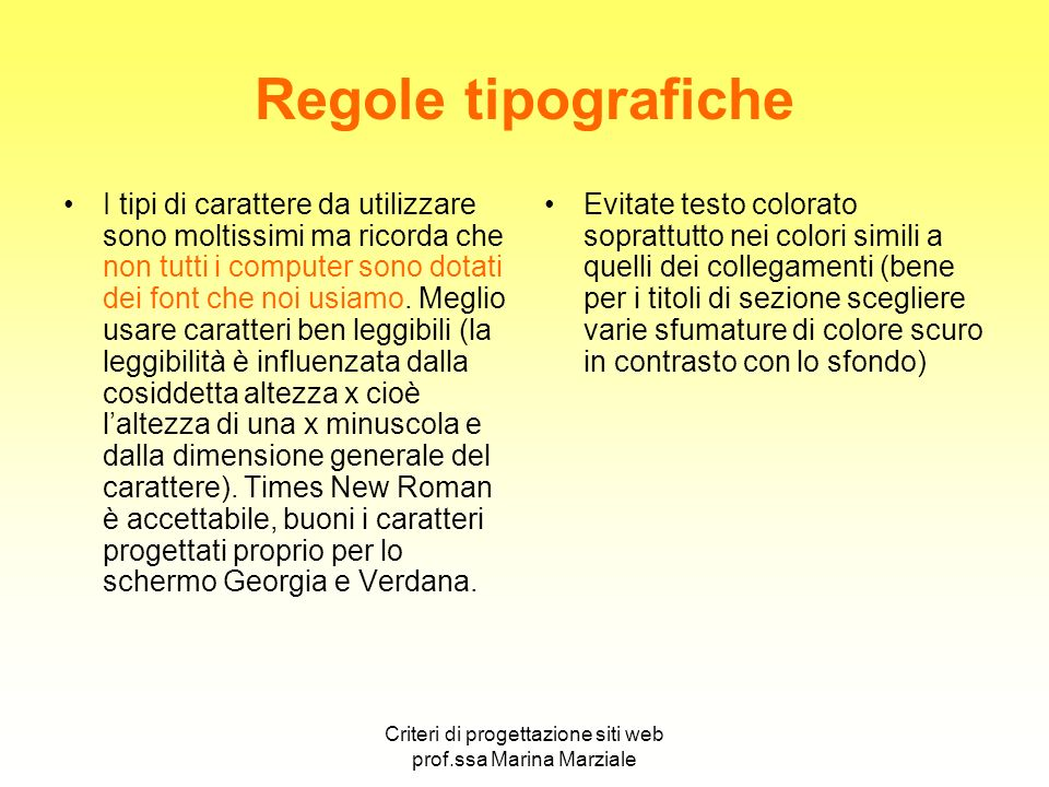 Criteri di progettazione siti web prof.ssa Marina Marziale