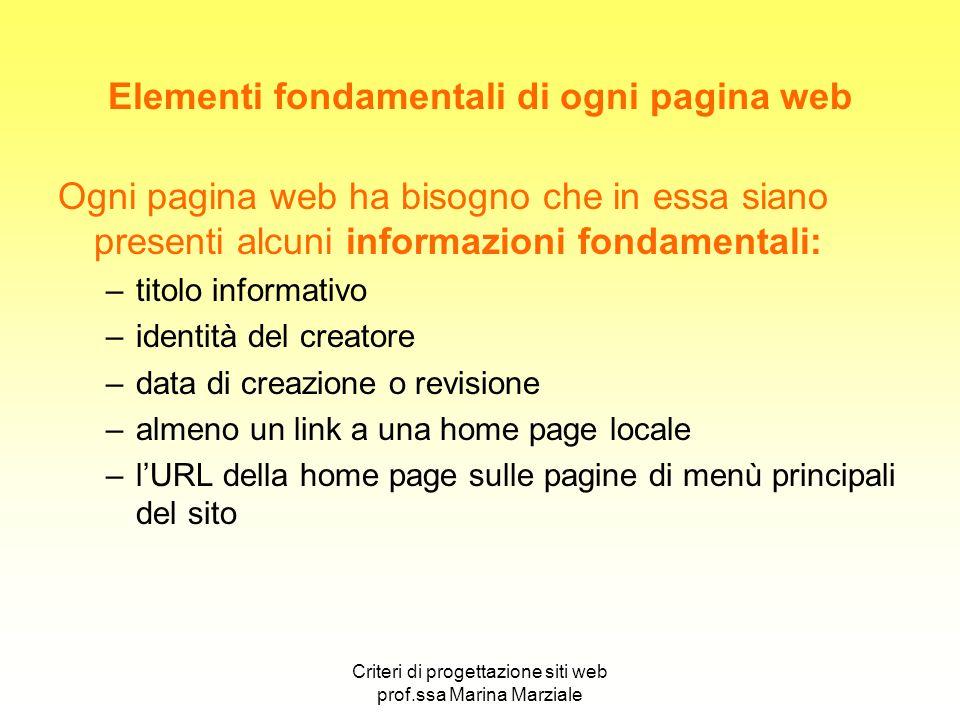 Elementi fondamentali di ogni pagina web