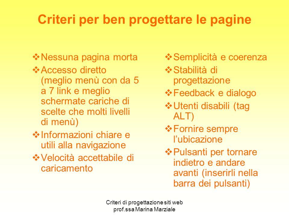 Criteri per ben progettare le pagine