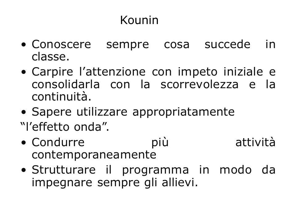 Kounin Conoscere sempre cosa succede in classe. Carpire l'attenzione con impeto iniziale e consolidarla con la scorrevolezza e la continuità.
