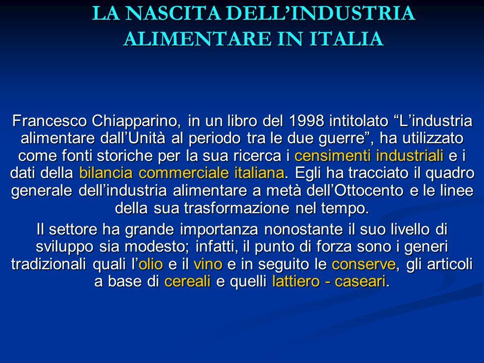 LA NASCITA DELL'INDUSTRIA ALIMENTARE IN ITALIA