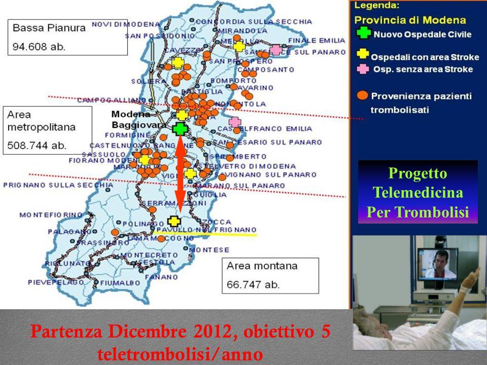 Partenza Dicembre 2012, obiettivo 5 teletrombolisi/anno