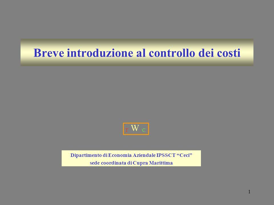 Breve introduzione al controllo dei costi