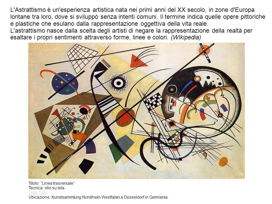 L Astrattismo è un esperienza artistica nata nei primi anni del XX secolo, in zone d Europa lontane tra loro, dove si sviluppò senza intenti comuni. Il termine indica quelle opere pittoriche e plastiche che esulano dalla rappresentazione oggettiva della vita reale.