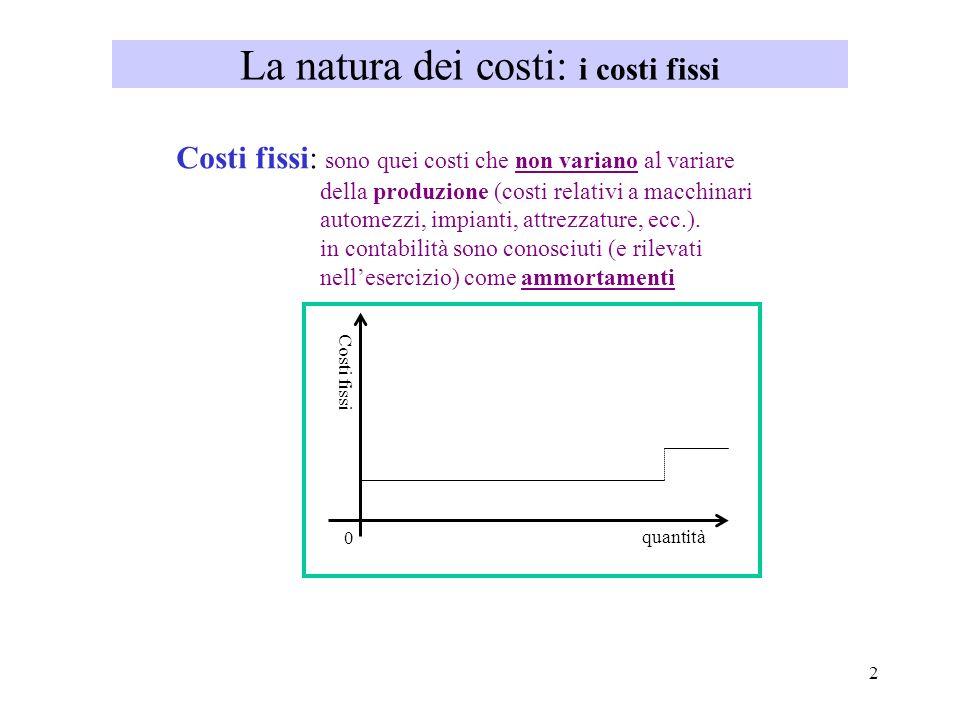 La natura dei costi: i costi fissi