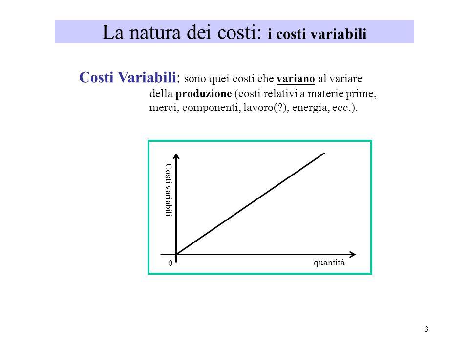 La natura dei costi: i costi variabili