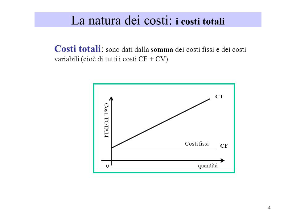 La natura dei costi: i costi totali
