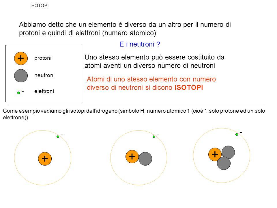 ISOTOPI Abbiamo detto che un elemento è diverso da un altro per il numero di protoni e quindi di elettroni (numero atomico)