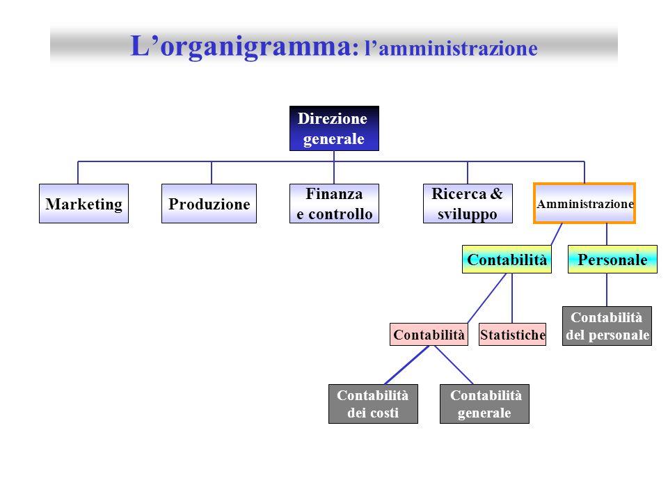 L'organigramma: l'amministrazione
